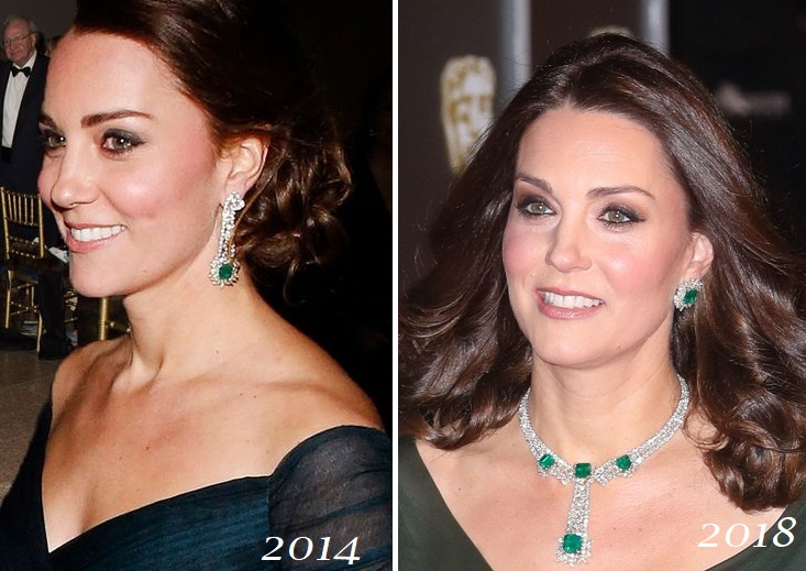 The Duchess of Cambridge Diamond Emerald eaarings and necklace
