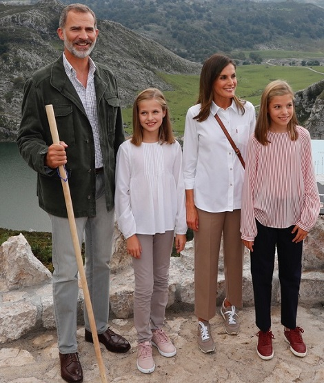 King Felipe and Queen Letizia in Asturias with Leonor and Sofia