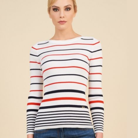 Luisa Spagnoli's Muvi Pullover in white, blue and red