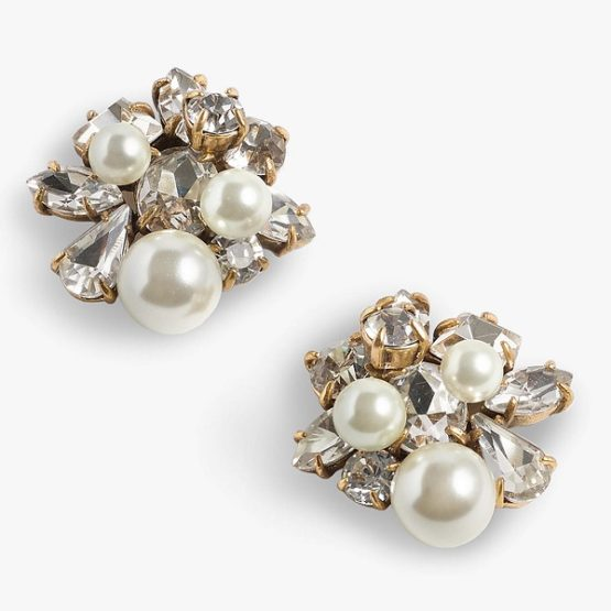 J.Crew Crystal and Glass Pearl Stud Earrings