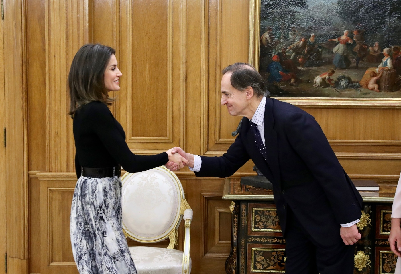 Queen Letizia of Spain received audience at the Royal Palace in Madrid