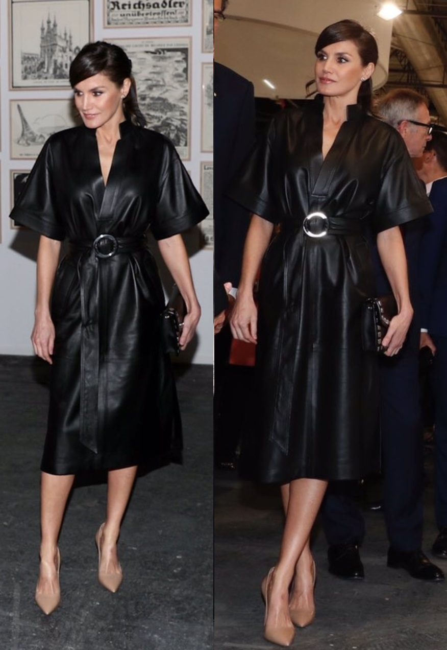 Queen Letizia wore black leather &OtherStory Dress for ArtFair