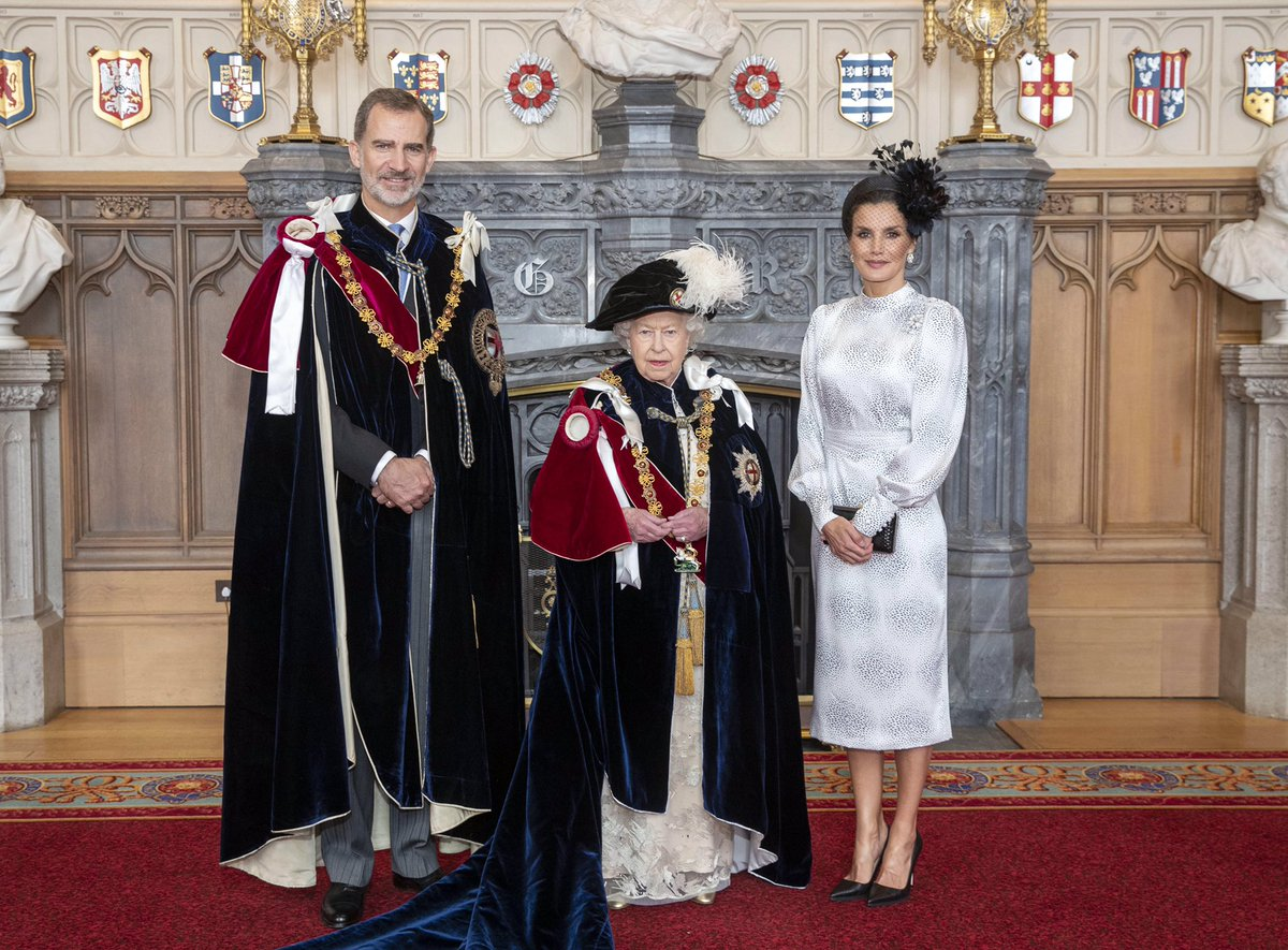 Queen Letizia of Spain in Monochrome for Order of Garter Service