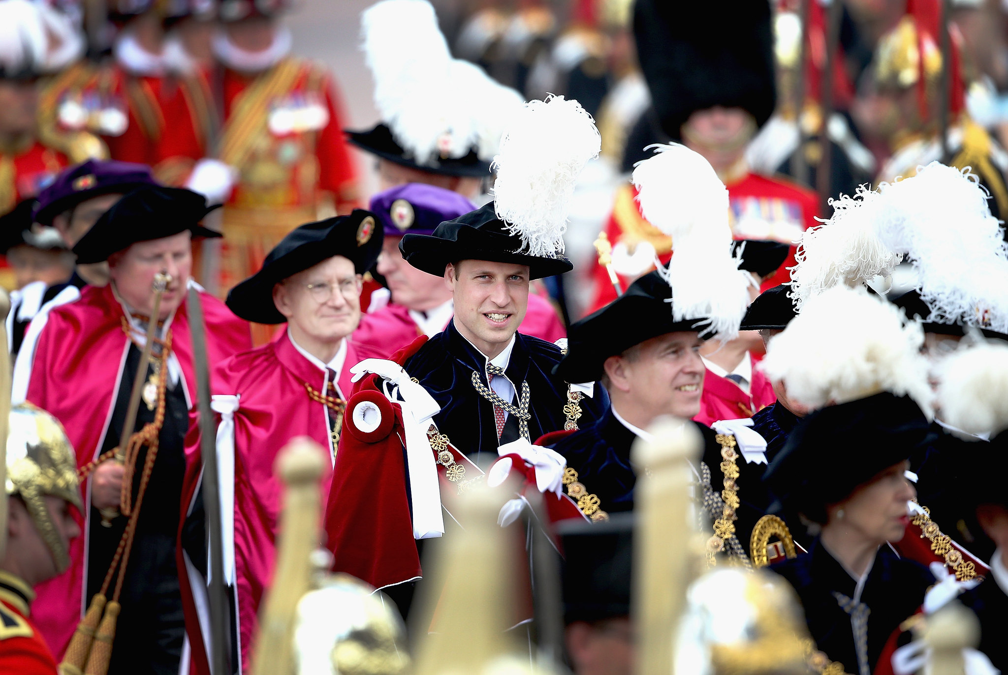 The Duke of Cambridge (centre) and the Duke of York (centre right) attend the annual Order of the Garter Service at St George's Chapel, Windsor Castle.