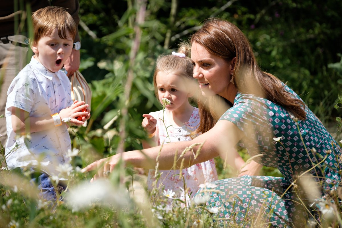 Duchess of Cambridge wore Sandro Dress to visit the new home of her Back to Nature Garden at the RHS Hampton Court
