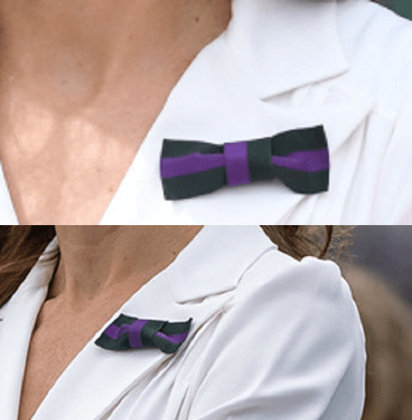 Duchess of cambridge wore Wimbledon Dark Green and Purple Bow on white suzannah dress