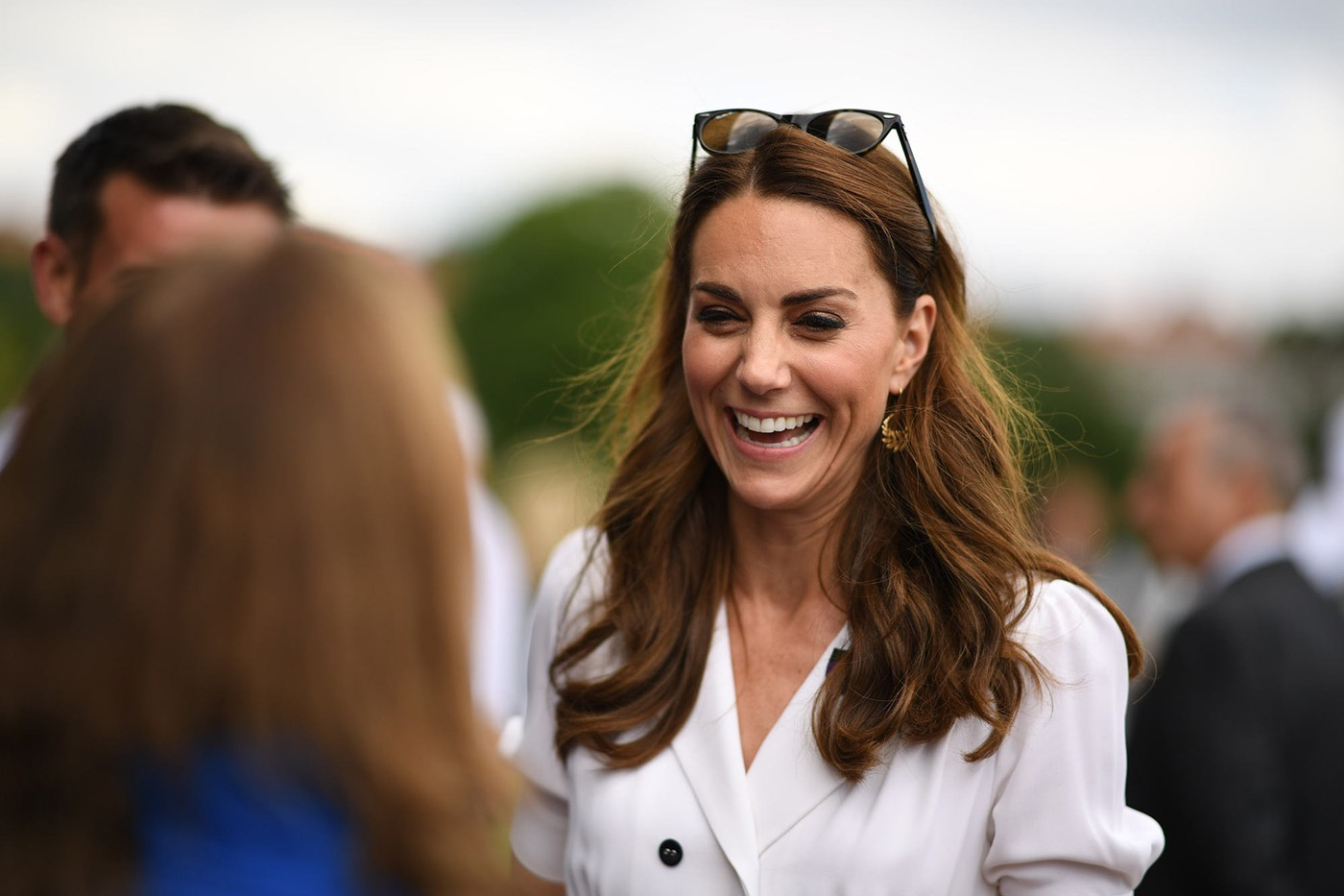 Duchess of Cambride visited Wimbledon as the patron of the Lawn Tennis wearing white suzannah dress