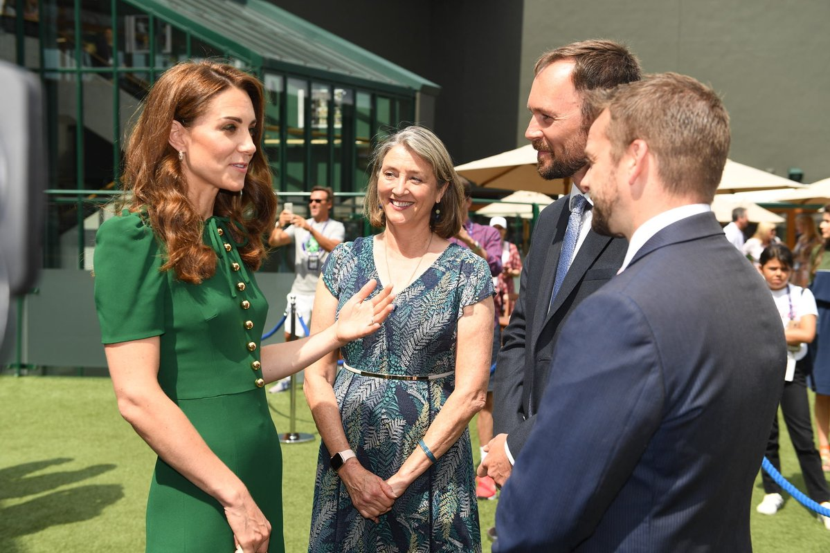 Duchess of Cambridge in green Dolce and gabbana dress at Wimbledon finale