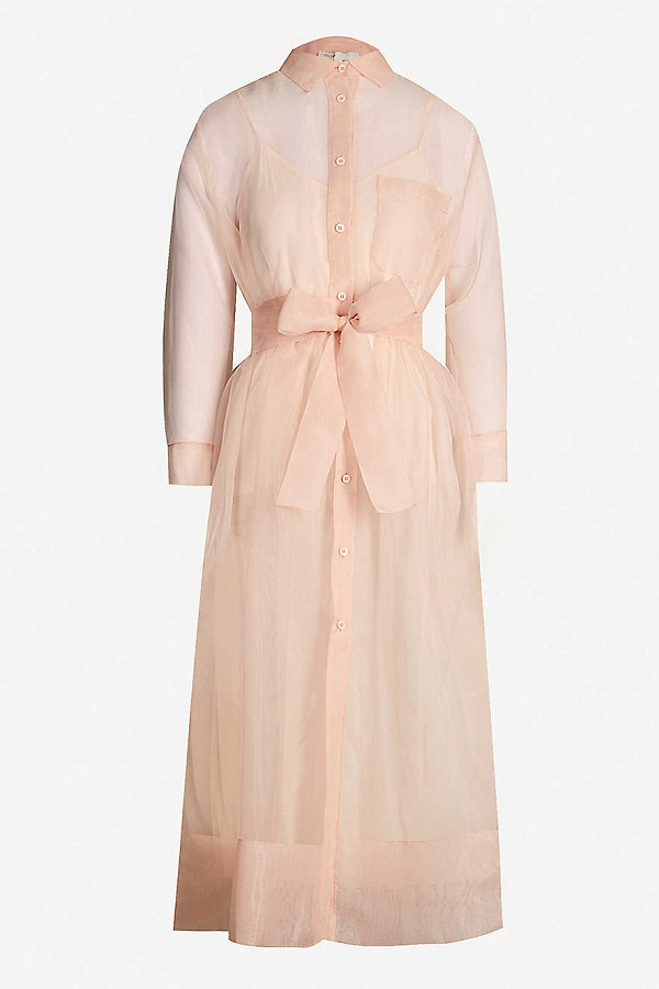 Queen Letizia wore Maje 'Roane' pink organza shirtdress in Cuba at the dinner party