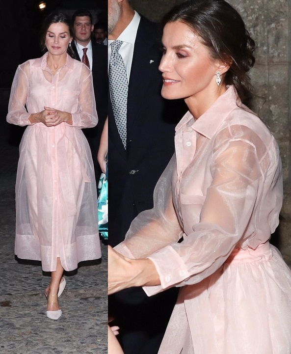 Queen Letizia wore Roane pink organza shirtdress in Cuba for dinner with President and First Lady