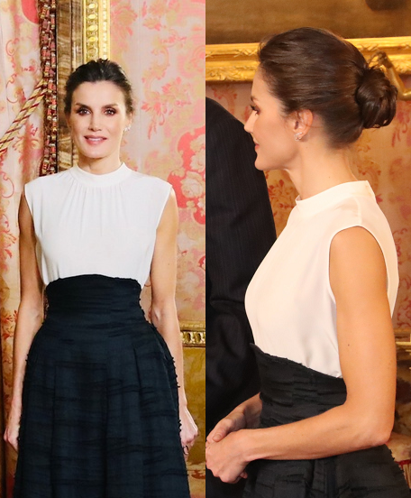 Queen Letizia wore white Hugo Boss top and H&M Conscious Collection Linen-Silk Blend Long Skirt at UN Climate Change Conference