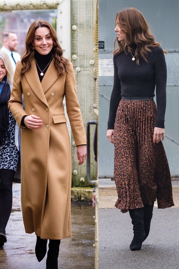 Duchess of Cambridge wore Massimo Dutti coat, Zara Skirt with Ralph and Lauren boots to launch her big survey