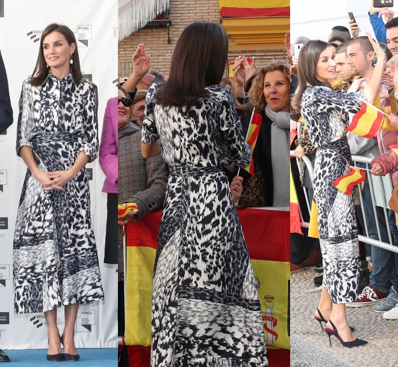 Queen Letizia wore Victoria Beckham skirt and blouse in Seville with carolina herrera pumps and tous earrings