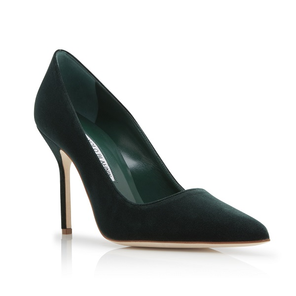 Duchess of Cambridge wore Manolo Blahnik BB dark green velvet pumps