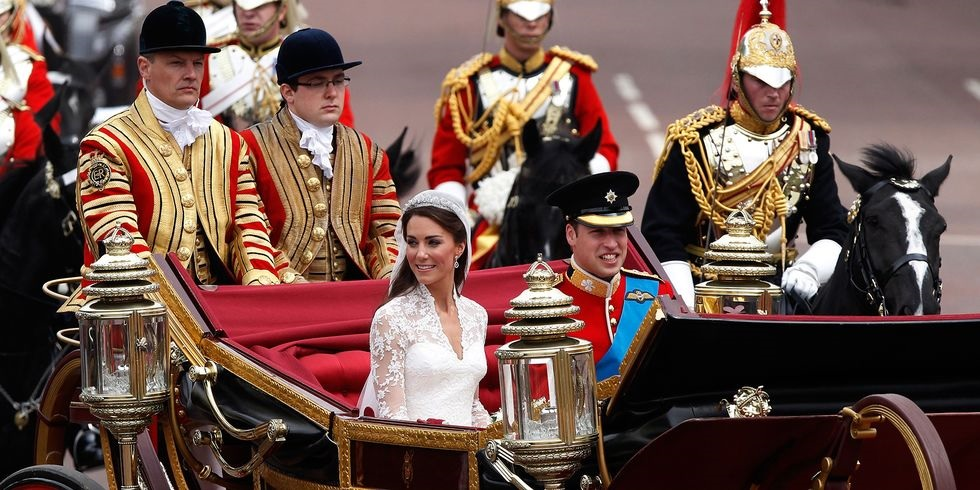 Duke and Duchess of Cambridge heading towards Buckingham Palace after their wedding