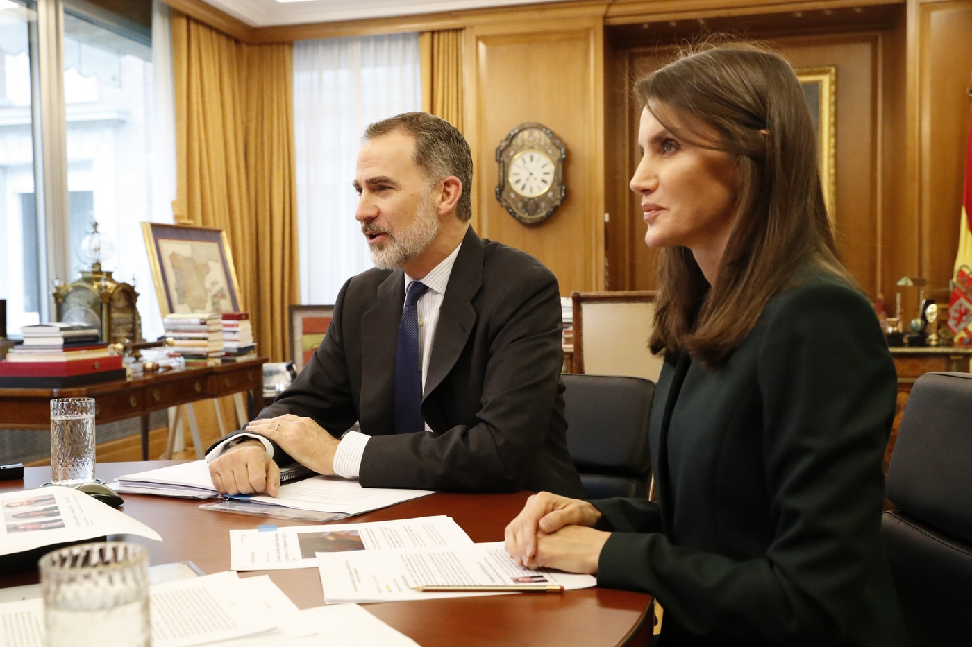 King Felipe and Queen Letizia held a video conference withInstituto Cervantes