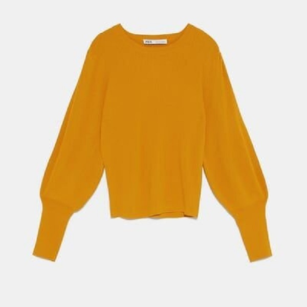 Duchess of Cambridge wore Zara Mustard Yellow Puff Sleeve Sweater
