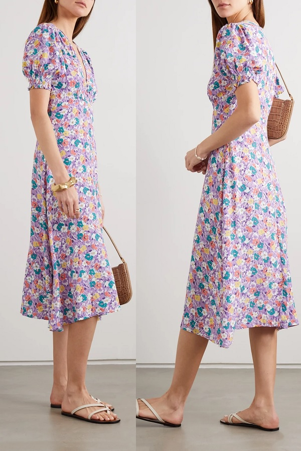 The Duchess of Cambridge wore Faithfull the Brand Marie-Louise floral-print crepe midi dress to the NOOK in Norfolk