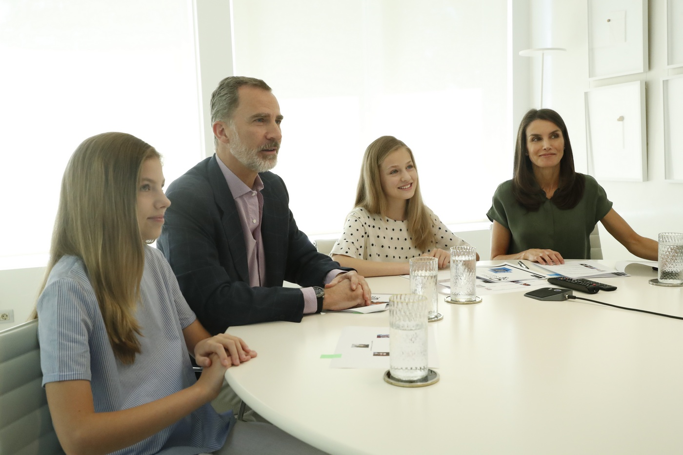King Felipe and Queen Letizia of Spain along with the Princess of Asturias and Girona and the Infanta Doña Sofía during the video conference with the FPdGi
