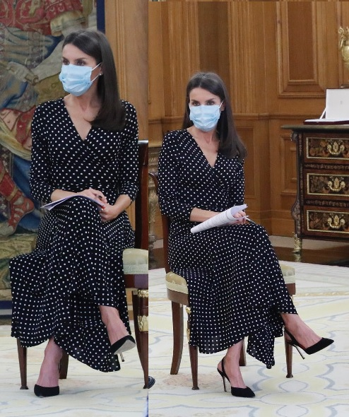 Queen Letizia of Spain wore black carolina herrera polka dot dress with slingback suede pumps for first palace audience amid coronavirus