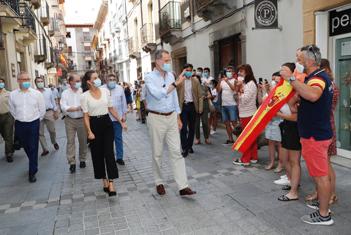King Felipe and Queen Letizia during a walkabout in the streets of Jaca