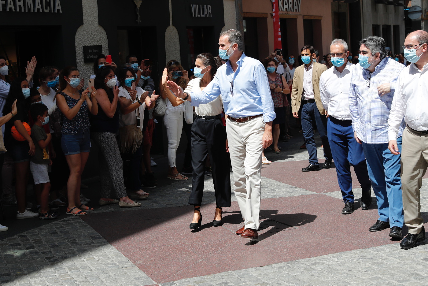 King Felipe and Queen Letizia in the streets of Jaca