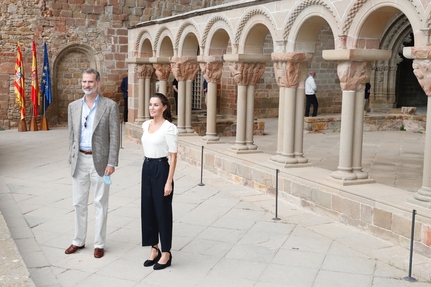 King Felipe and Queen Letizia of Spain at Monastery of San Juan de la Peña in front of the Romanesque Cloister in Huesca