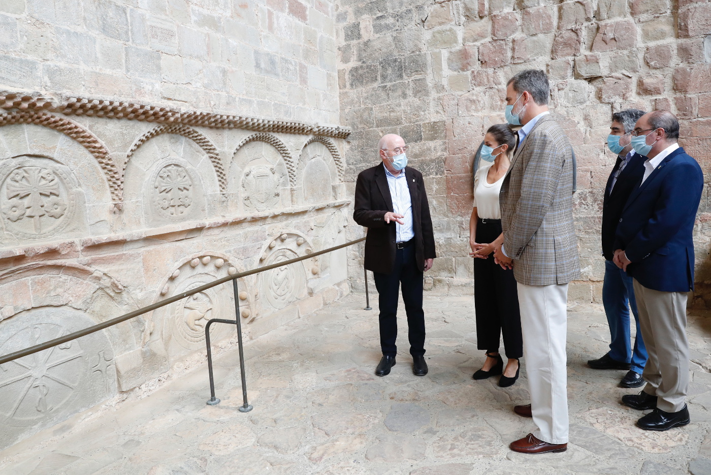 King Felipe and Queen Letizia of Spain during their visit of the Pantheon of Nobles in huesc