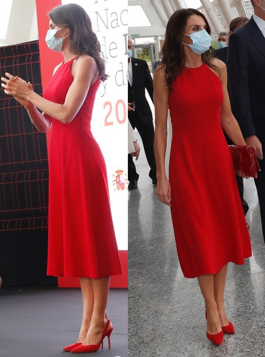 Queen Letizia in red halter neck dress for the innovation awards