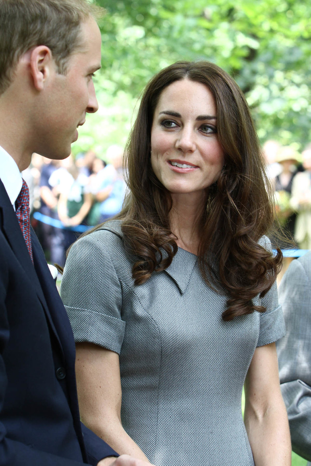 The Duchess of Cambridge in grey CAtherine Walker Dress at tree planting ceremony in Canada
