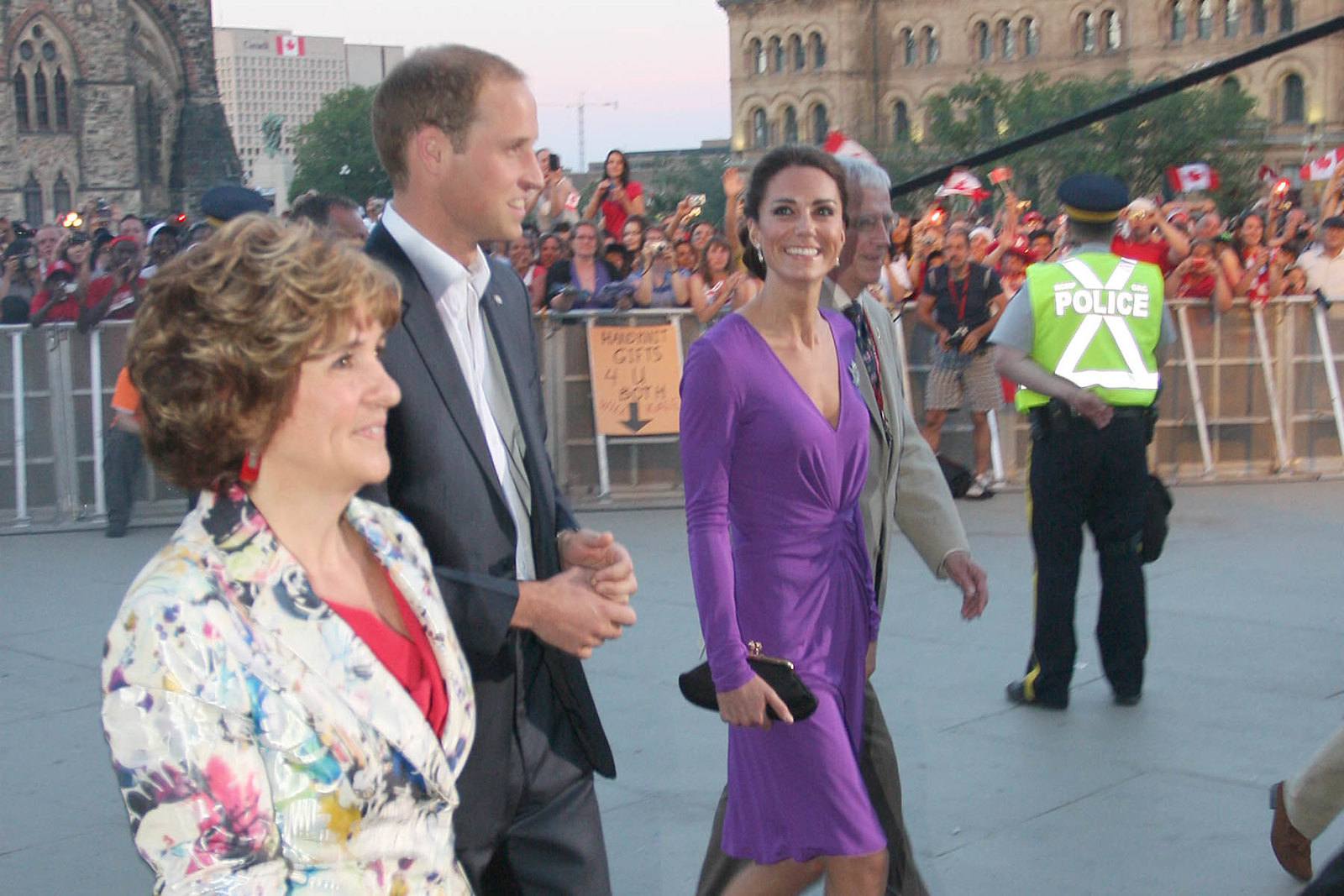 The Duchess of Cambridge in purple Isa dress for Canada Day fireworks during royal tour in 2011