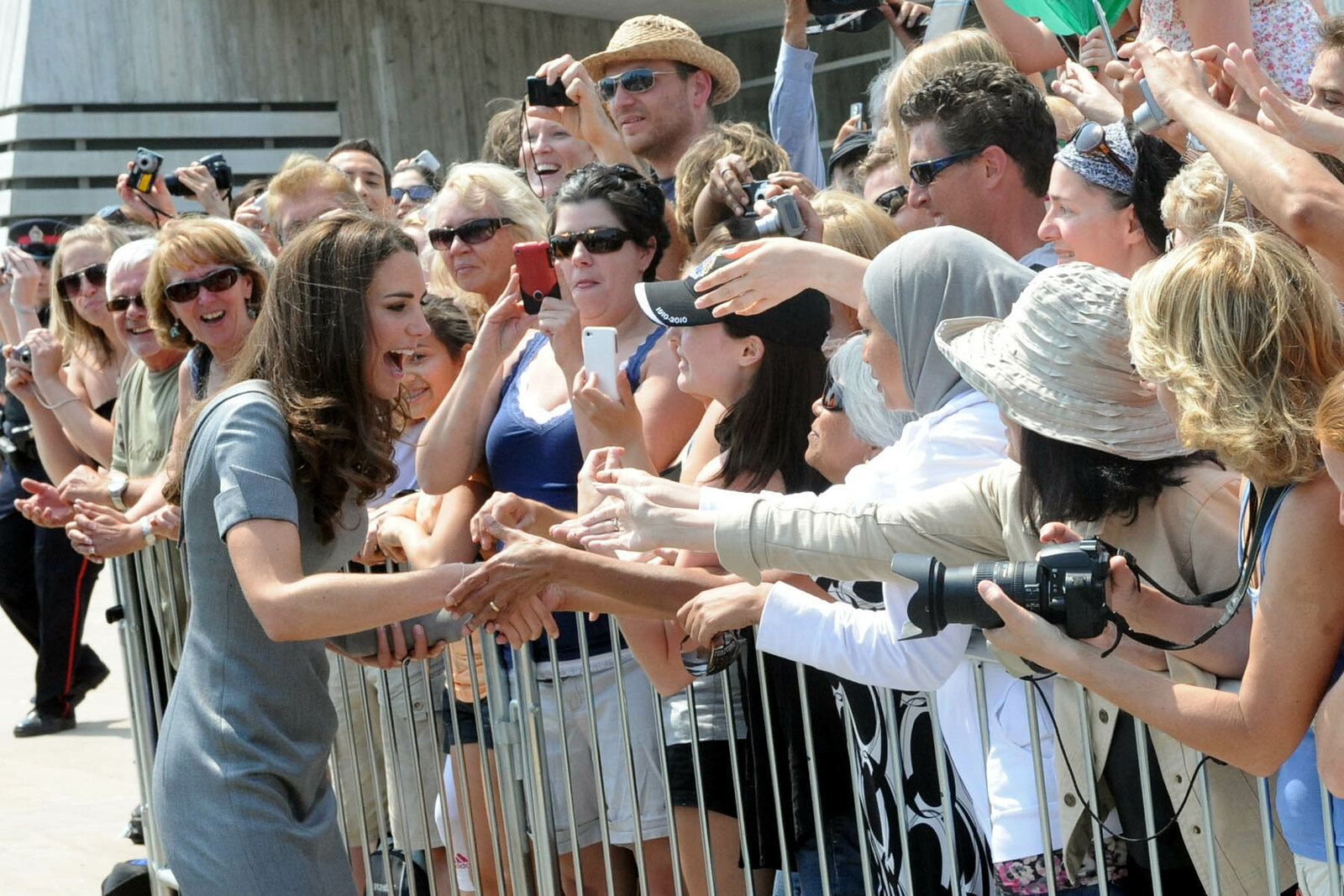 The Duchess of Cambridge meeting with public outside war museum during canada tour in 2011