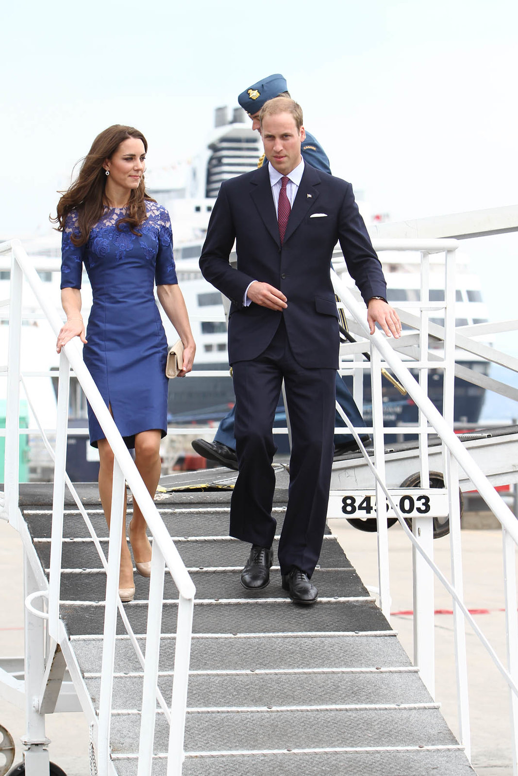 The Duchess of Cambridge wore blue erdem dress in Quebec city during Royal tour of canada in 2011