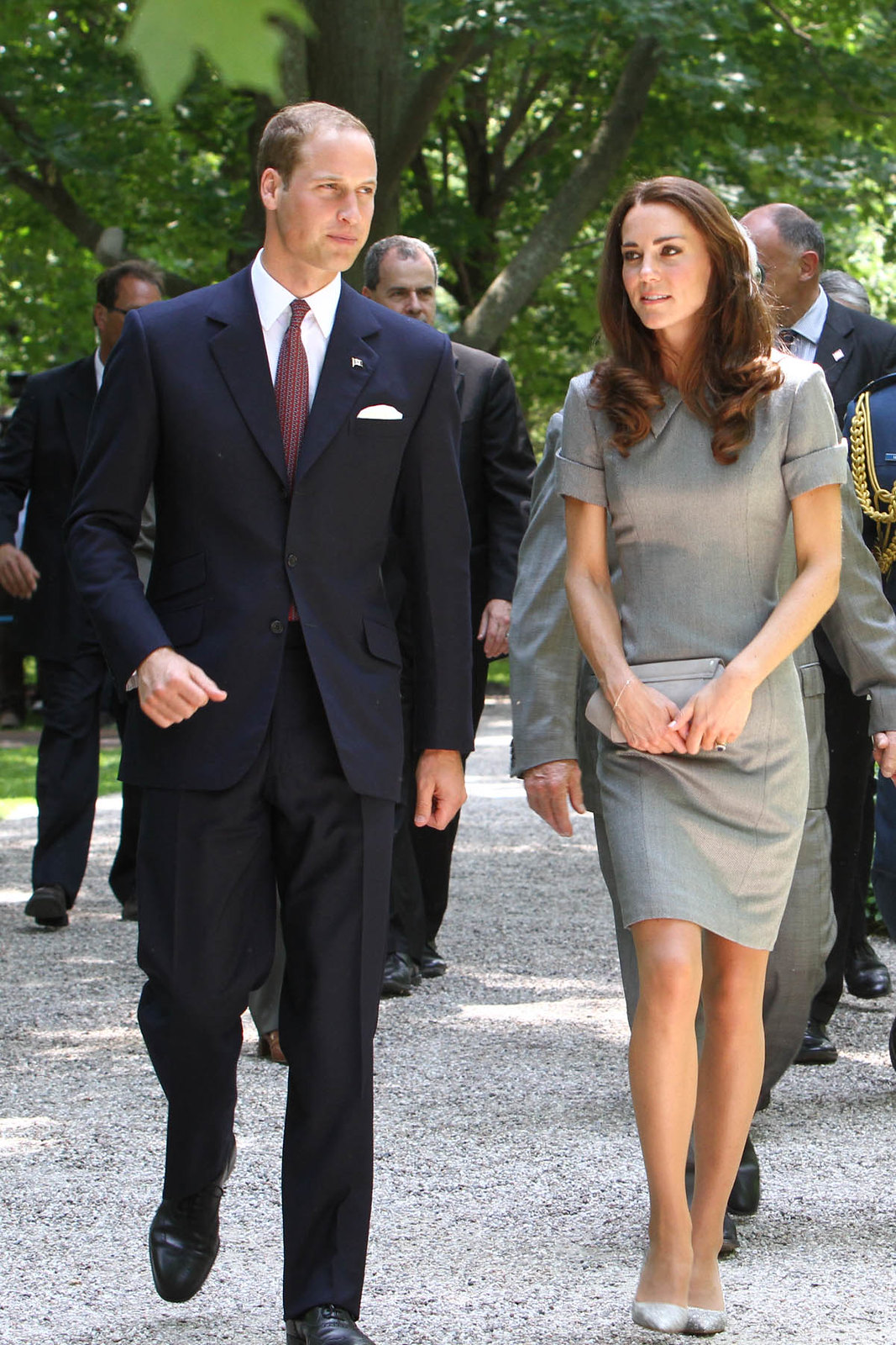 The Duchess of Cambridge wore grey Catherine Walker Kensington Dress with grey pumps for Tree platning ceremony in canada