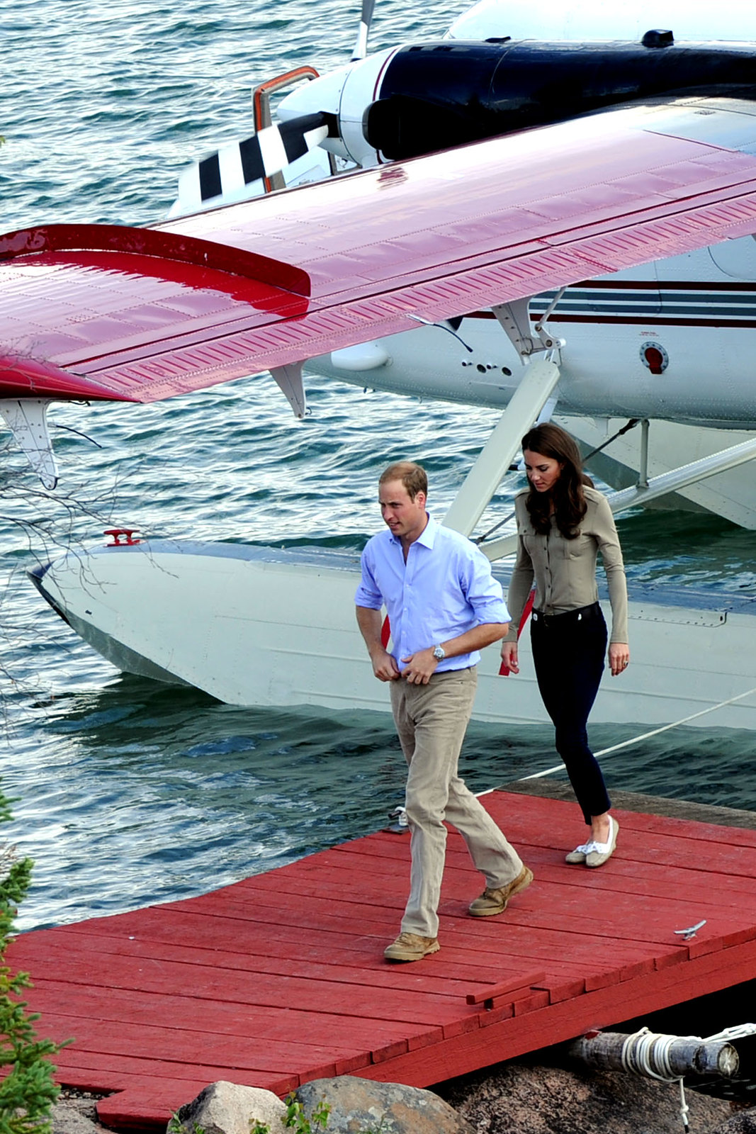 The Duke and Duchess of Cambridge arrived in Blachford in a floatplane
