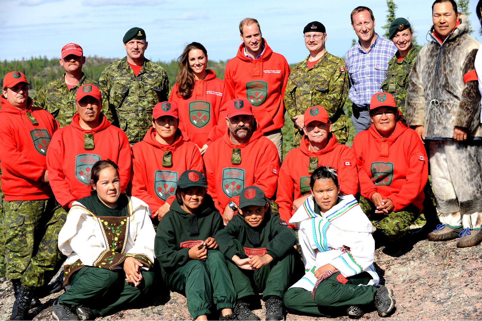 The Duke and Duchess of Cambridge with Canadian rangers during canada tour in 2011