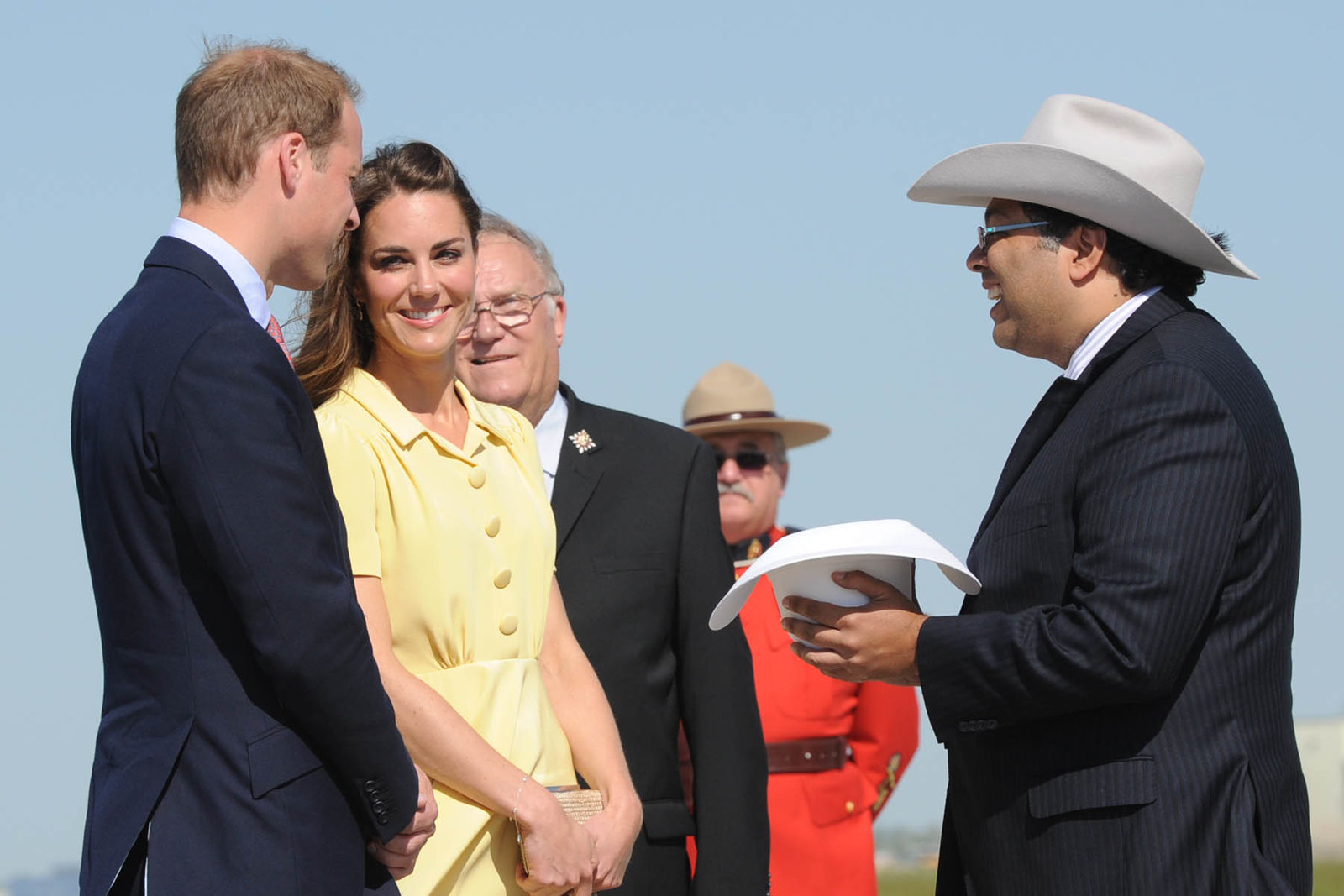 the Duke and Duchess of Cambridge received traditional headgear in calgary