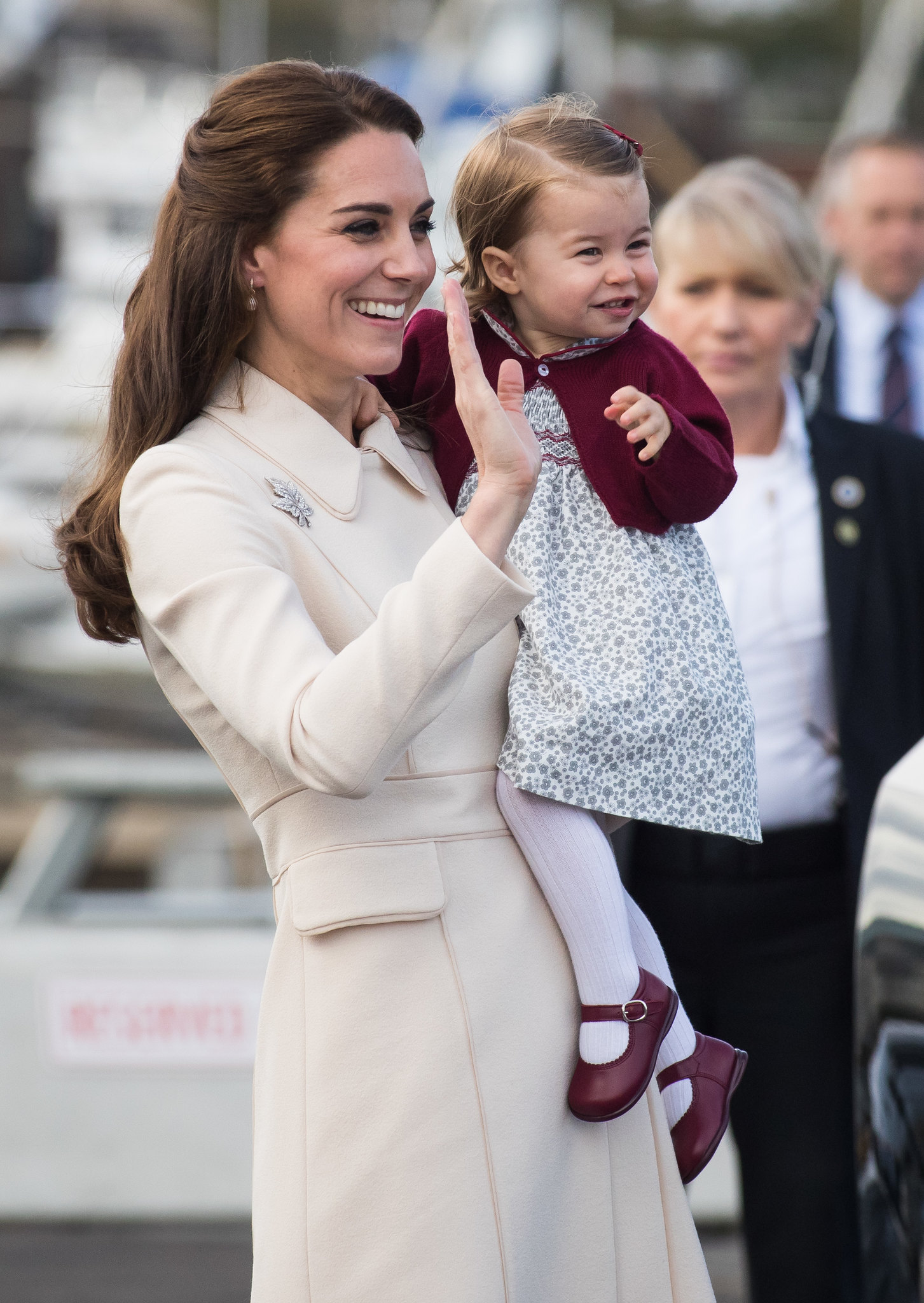 Princess Charlotte bidding farewell to the country in 2016