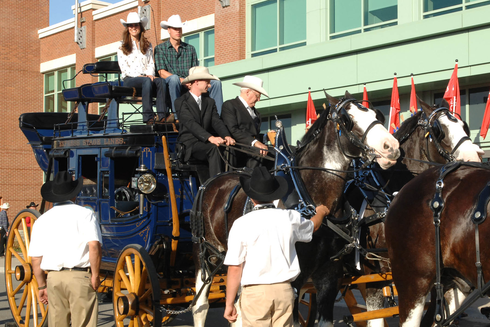 The Duke and Duchess of Cambrridge arriving at the Calgary Stampede Parade