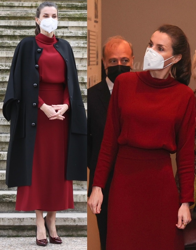 Queen Letizia of Spain chose a gorgeous red and black look for Concepción Arenal. The Humanist Passion 1820-1893 Exhibition